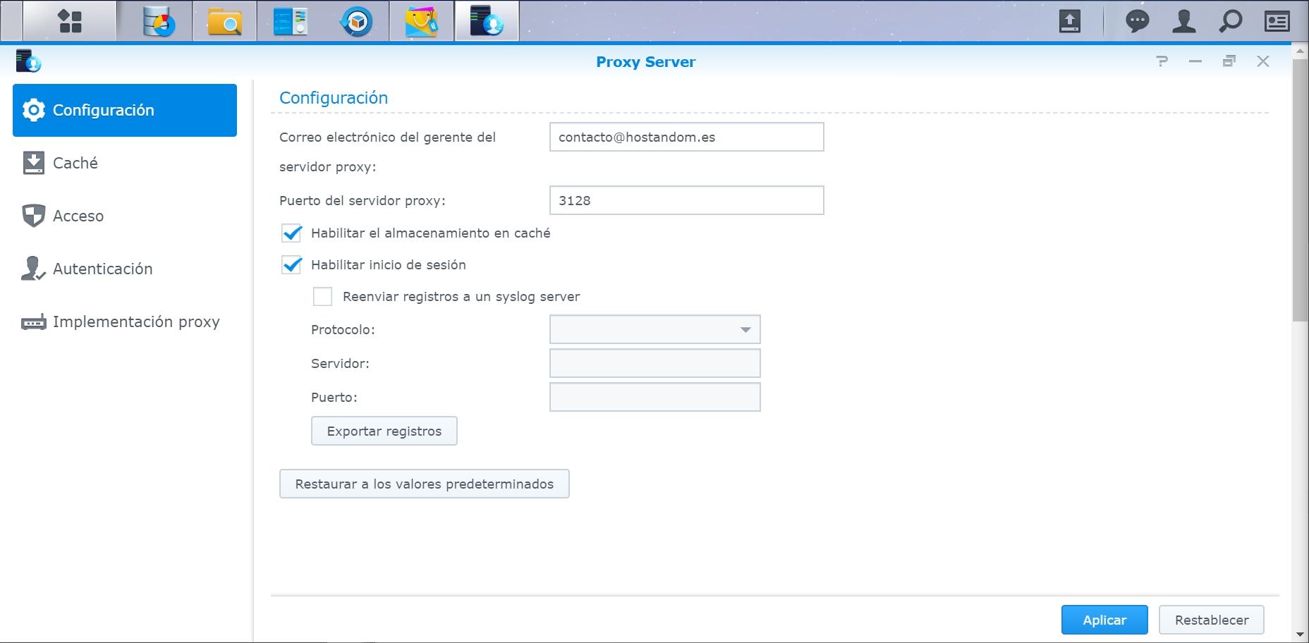configuracion proxy server en synology nas